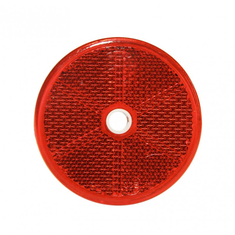 Catadiottro tondo rosso adesivo con foro