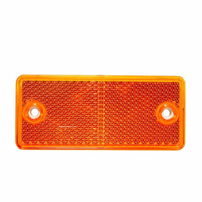 Catadiottro rettangolare arancione con fori