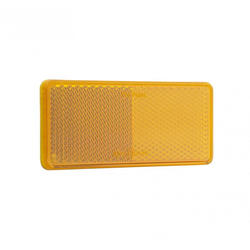 Catadiottro rettangolare arancione adesivo