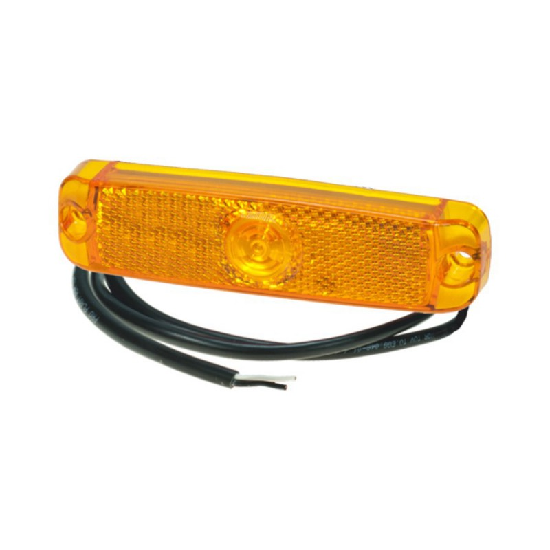 Luce laterale arancione a led 130X32mm 12-24V cavo 1,5m