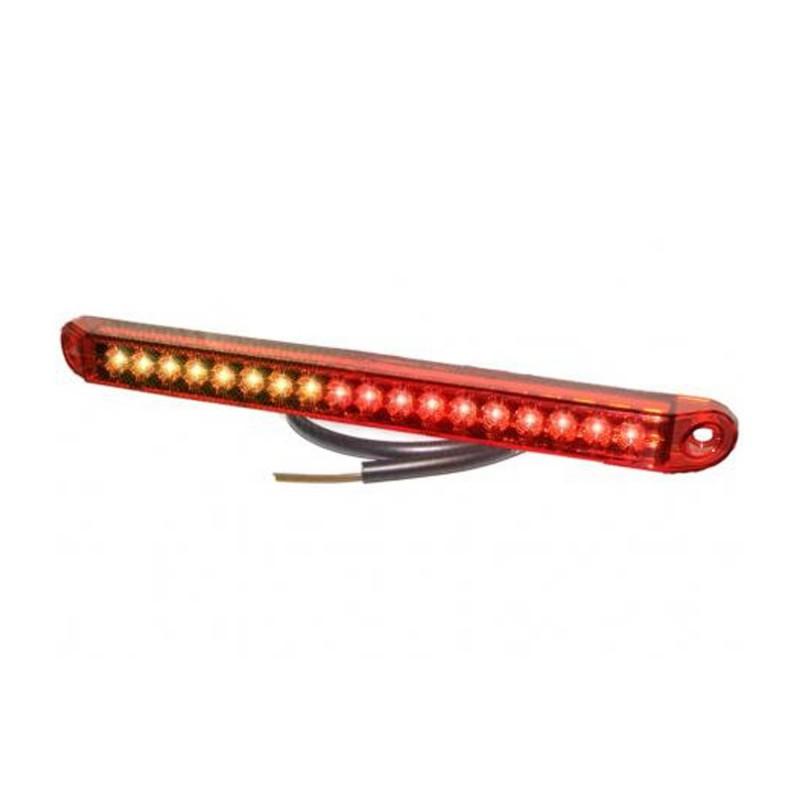 Fanale modulare posteriore per stop posizione e freccia progressiva a 12V lente rossa Pro-Can-Xl a led con cavo 0,5m