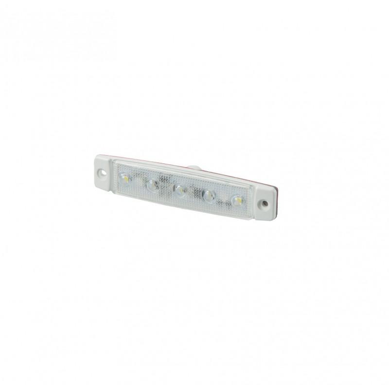 Luce ingombro bianca 5 led base bianca 12V-24V